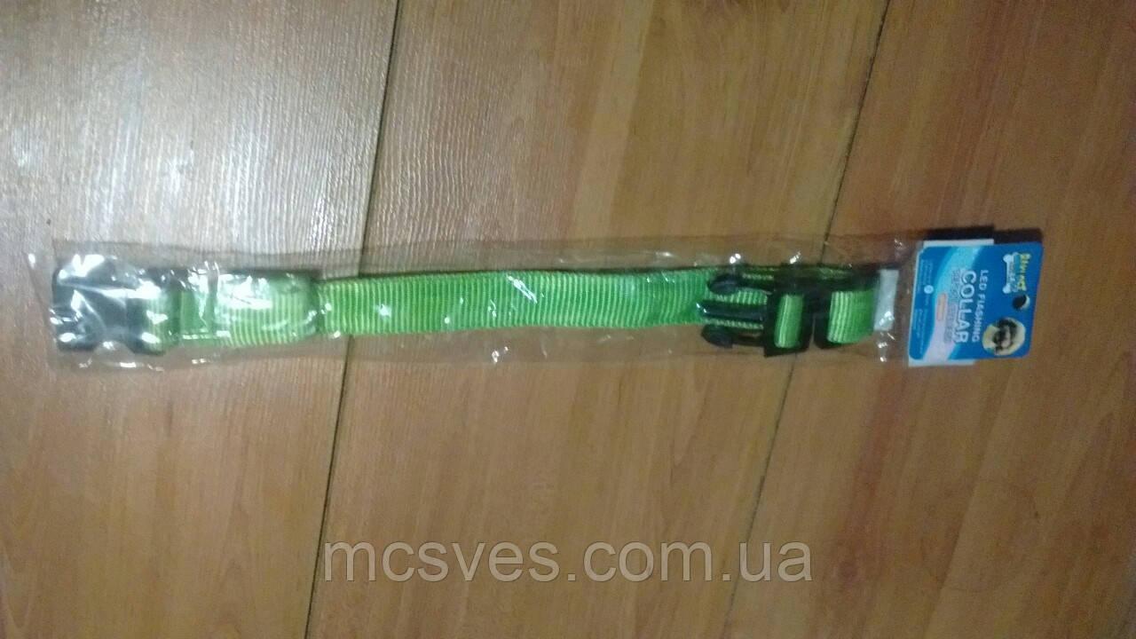 Baki Pet Led Flashing COLLAR светящийся ошейник для собак. Зеленый. Размер М