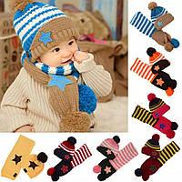 Детский теплый набор шапка+шарф