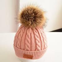 Теплая детская шапка бежево-розовый