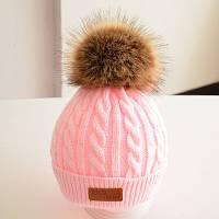 Теплая детская шапка розовый