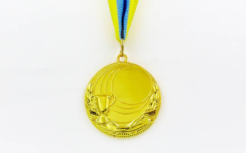 Заготовка медали спортивной с лентой PLUCK d-5см (металл, 25g, 1-золото, 2-серебро, 3-бронза) Золотой PZ-C-4844_1