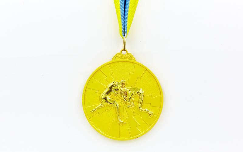 Медаль спортивная с лентой двухцветная d-6,5см Борьба (металл, покрытие 2 тона, 56g золото, серебро, бронза) Золотой PZ-C-4852_1