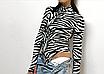 Женский боди Hugcitar Lilu с длинными рукавами, с высоким воротом, с принтом под зебру клубный, black, фото 3