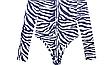 Женский боди Hugcitar Lilu с длинными рукавами, с высоким воротом, с принтом под зебру клубный, black, фото 8