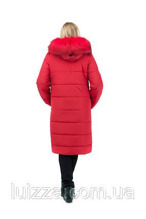 Пуховик женский удлиненный красный 46-56р, фото 2