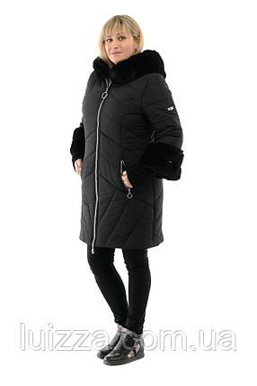 Пуховик женский зимний цвет черный 46-56р, фото 2