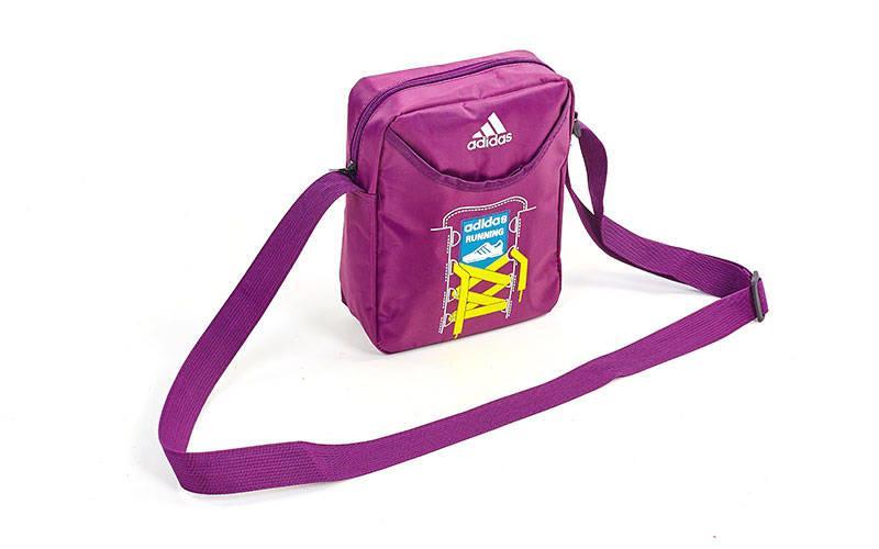 Сумка вертикальная маленькая через плечо 23х18х7,5см Adidas (полиэстер) Фиолетовый PZ-GA-8904_1