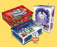Новогодняя подарочная коробочка для конфет и сладостей 1000гр №1004 140шт/ящ КД.