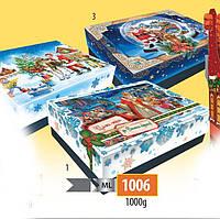 Новогодняя подарочная коробочка для конфет и сладостей 1000гр №1006 20шт/ящ КД.