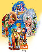 Новогодняя подарочная коробочка для конфет и сладостей 700гр №1028 150шт/ящ КД.