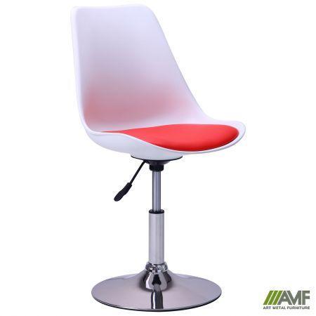 Барний стілець Aster chrome білий+червоний AMF