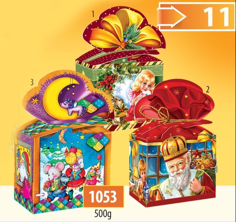 Новогодняя подарочная коробочка для конфет и сладостей 500гр №1053 180шт/ящ КД