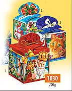 Новогодняя подарочная коробочка для конфет и сладостей 700гр №1030 225шт/ящ КД.
