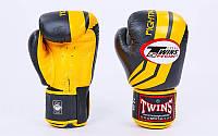 Перчатки боксерские кожаные на липучке Twins (10-16oz, черный-желтый) PZ-FBGV-43Y-BK