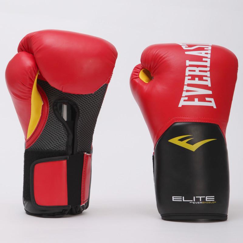 Перчатки боксерские PU на липучке EVERLAST PRO STYLE ELITE (р-р 16oz, красный-черный)