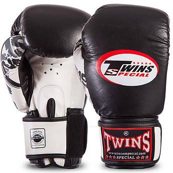 Перчатки боксерские кожаные на липучке Twins CLASSIC (10-16oz, черный-белый) PZ-0269