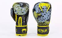 Перчатки боксерские кожаные на липучке Venum TRAMO (10-14oz, черный-желтый) PZ-VL-5792