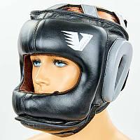 Шлем боксерский с бампером кожаный Velo (черный, M-XL) PZ-BO-6636-BK