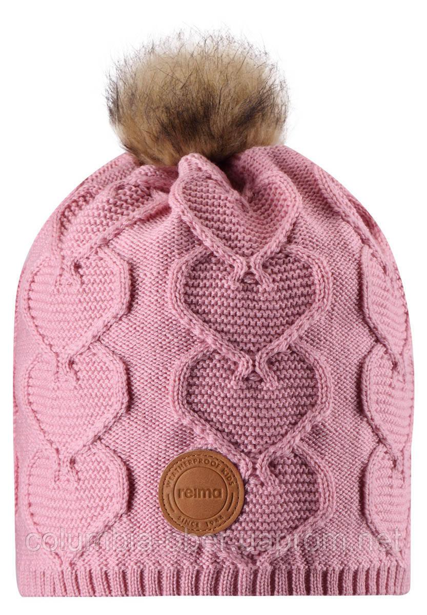Зимняя шапка-бини для девочки Reima Knitt 538082-4100. Размеры 48/50, 52/54 и 56/58.