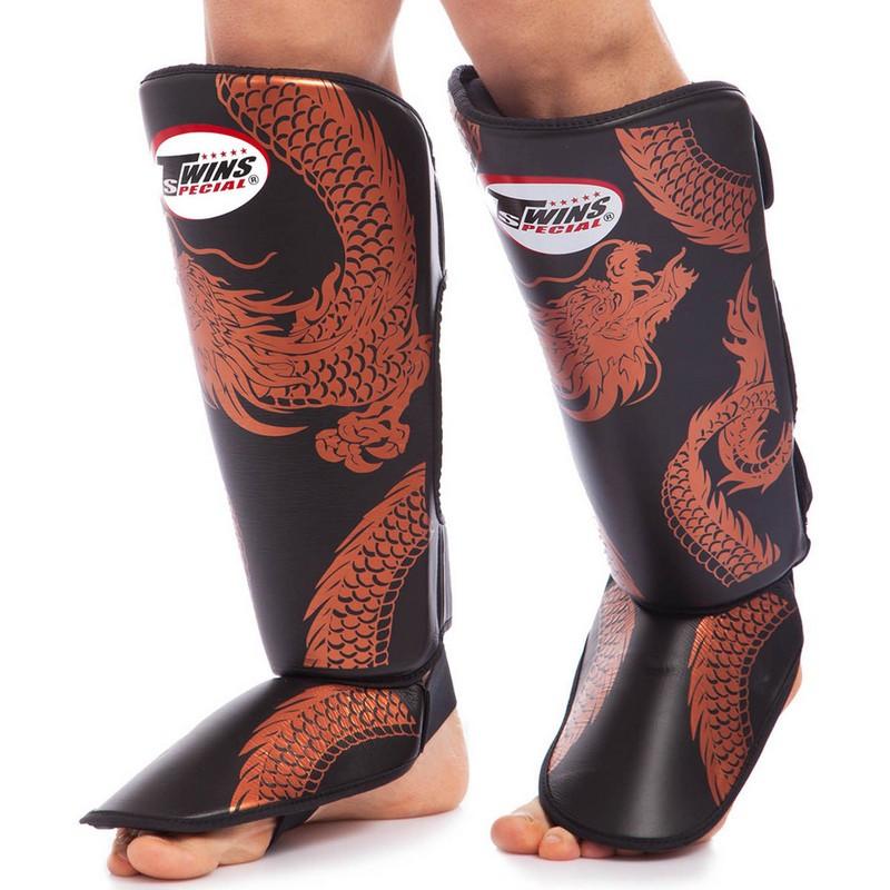 Защита для голени и стопы Муай Тай, ММА, Кикбоксинг кожаная TWINS (р-р M-XL)
