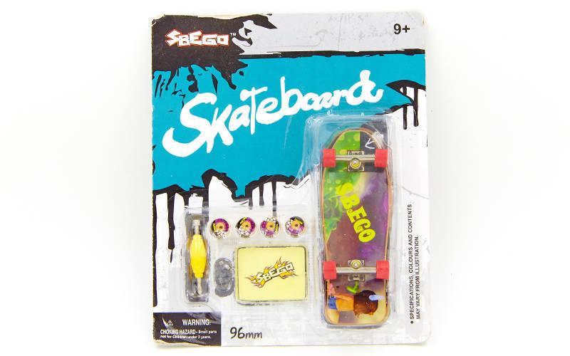 Фингерборд-мини скейт (1фингерборд, 4зап.колеса, 1ключ-отвер, наклейки, пластик, металл) PZ-9913
