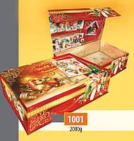 Новогодняя подарочная коробочка для конфет и сладостей 2000гр №1001 40шт/ящ КД.