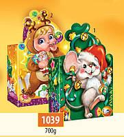 Новогодняя подарочная коробочка для конфет и сладостей 700гр №1039 120шт/ящ КД.