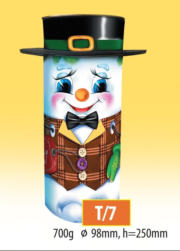 Новогодний подарочный тубус для конфет и сладостей 700гр №Т/7 30шт/ящ КД.