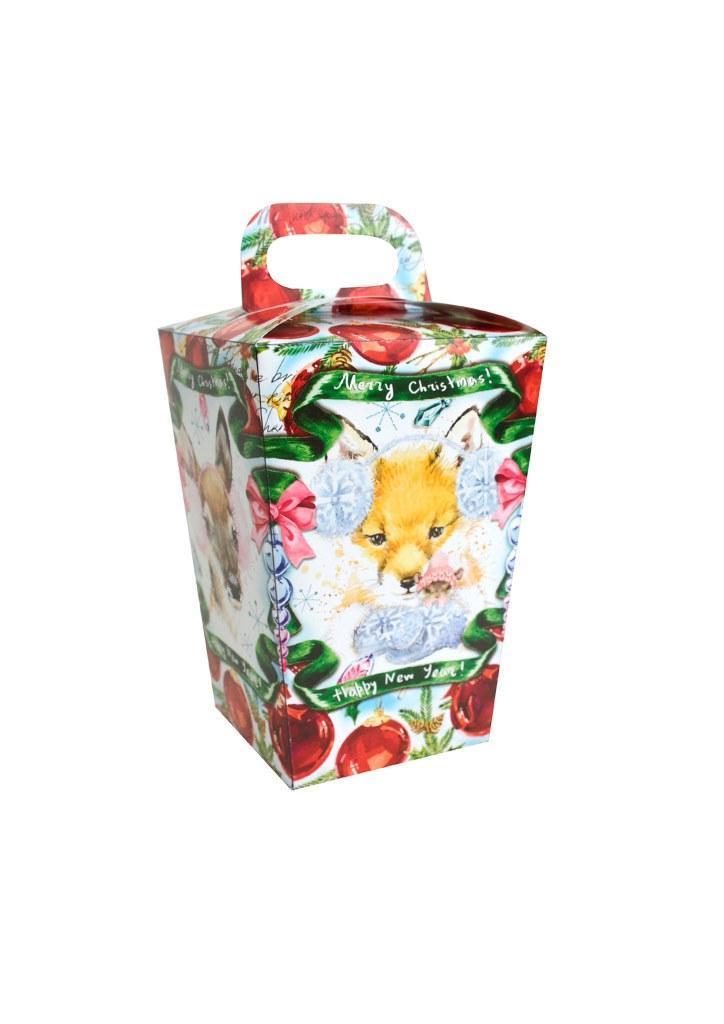"""Новогодняя подарочная коробочка для конфет и сладостей 400-500гр """"Звірі"""" 100шт/уп"""