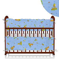 Защита в кроватку Алекс Ослики-жирафы голубая - 223544