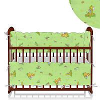 Защита в кроватку Алекс Ослики-жирафы зеленая - 223545