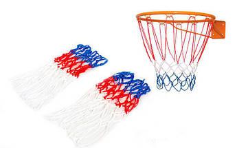 Сетка баскетбольная (полипропилен,13 петель, яч. р-р 6x6см, цвет бело-красно-синий, в компл. 2шт)