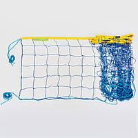 Сетка для волейбола Эконом15 (PP 2,5мм, р-р 9x0,9м, ячейка 15x15см, шнур натяжения, прорезин.ткань Оксфорд, желтый-синий)