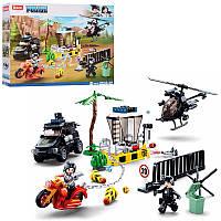 Конструктор полиция аналог лего, полицейский транспорт- джип, вертолет, мотоцикл, фигурки, SLUBAN M38-B0772