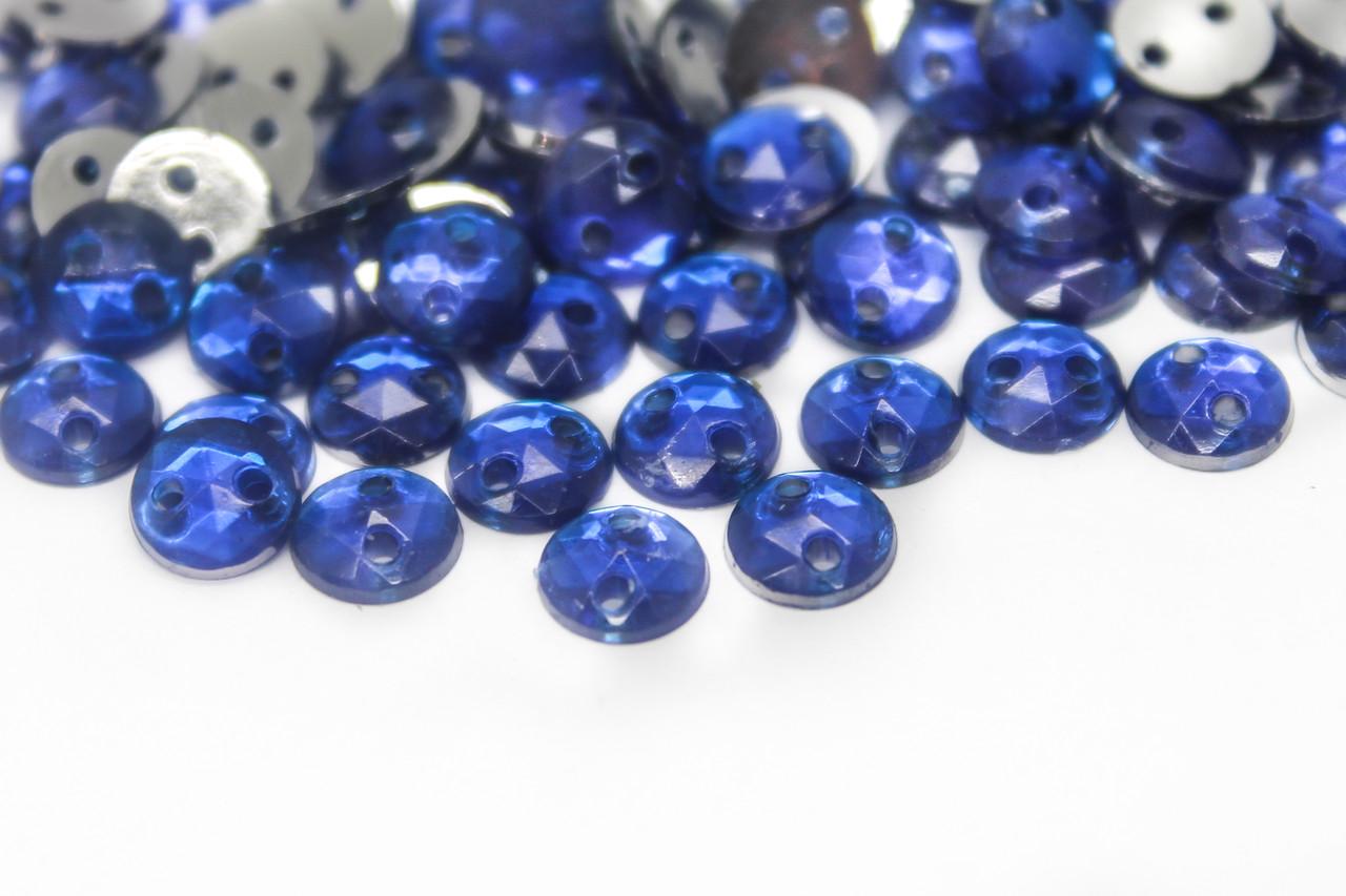 Стразы пришивные круглые Акрил, Диаметр:6 мм, Цвет Синий, В упаковке 500шт.