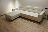 Шкіряний кутовий диван у вітальню (Молочний), фото 1