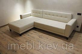 Шкіряний кутовий диван у вітальню (Молочний)