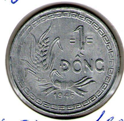 Северный Вьетнам 1 донг 1946 года. Хо Ши Мин. алюминий редкий