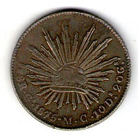 Мексика Вторая республика 8 реал 1875 год серебро 27 грамм 900 пробы