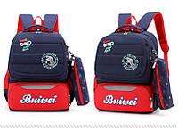 Детский школьный рюкзак Mujer с пеналом черный с красным