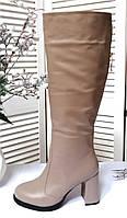Бежеві шкіряні чоботи на високих підборах, фото 1