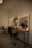 Візажний столик з натурального дерева, Стол для визажиста, гримерный с зеркалом и подсветкой