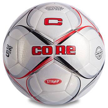 Мяч футбольный №5 PU HIBRED Сшит машинным способом CORE STRAP (№5, 5сл., белый-бордовый-черный) PZ-CR-014