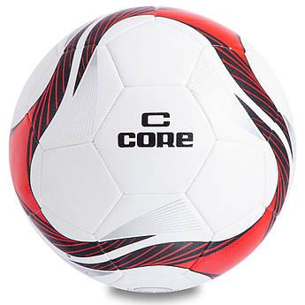 Мяч футбольный №5 PU HIBRED Сшит машинным способом CORE SUPER (№5, 5сл., белый-красный) PZ-CR-012
