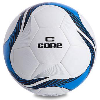 Мяч футбольный №5 PU HIBRED Сшит машинным способом CORE SUPER (№5, 5сл., белый-синий) PZ-CR-013