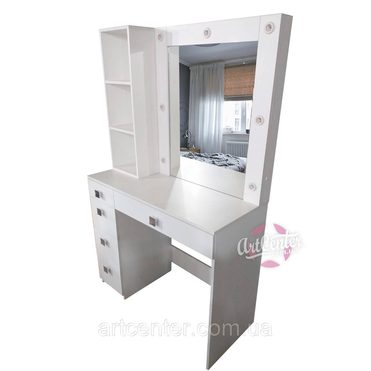 Столик для макияжа с зеркалом, полочками и ящиками