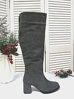 Серые замшевые сапоги на каблуке, фото 1
