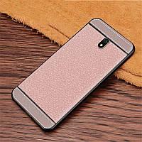 Чехол Litchi для Xiaomi Redmi 8A силикон бампер с рифленой текстурой светло-розовый