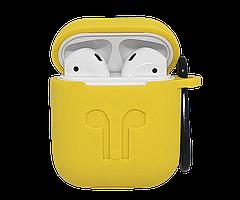 Силиконовый чехол для AirPods с карабином, Желтый