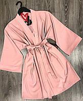 Бежевый домашний халат под пояс-штапель, халаты женские.